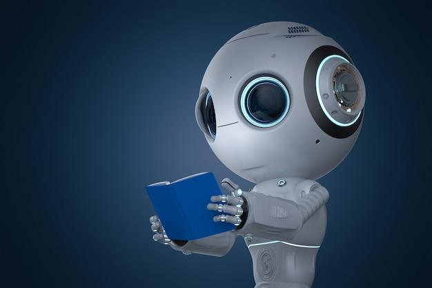 Concept d'apprentissage automatique avec rendu 3d un robot d'intelligence artificielle mignon lit le livre