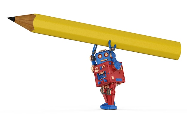 Concept d'apprentissage automatique avec un robot convivial de rendu 3d écrit avec un crayon