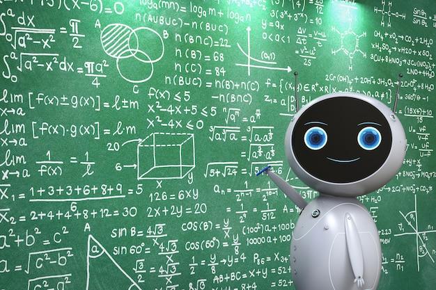 Concept d'apprentissage automatique avec robot convivial de rendu 3d avec formule mathématique sur tableau noir
