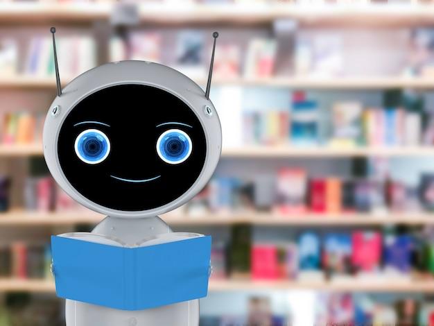 Concept d'apprentissage automatique avec un robot convivial de rendu 3d lisant un livre