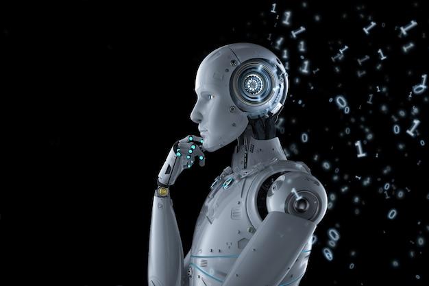 Concept d'apprentissage automatique avec robot pense avec code binaire
