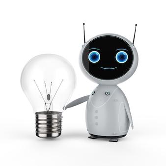 Concept d'apprentissage automatique avec robot de rendu 3d avec ampoule