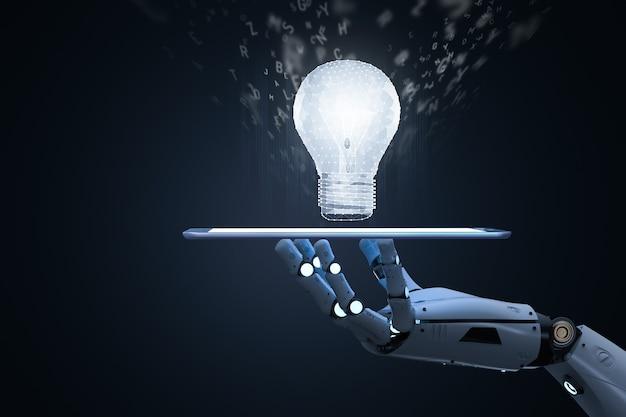 Concept d'apprentissage automatique avec tablette de prise de main de robot avec ampoule