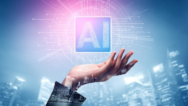 Concept d'apprentissage ia et d'intelligence artificielle.