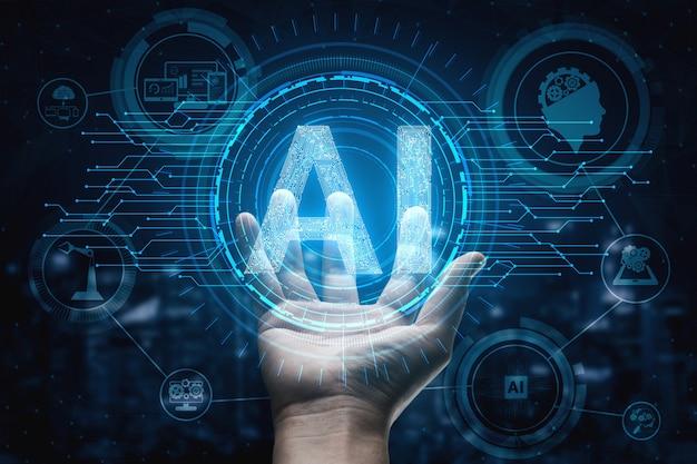Concept d'apprentissage ia et d'intelligence artificielle.