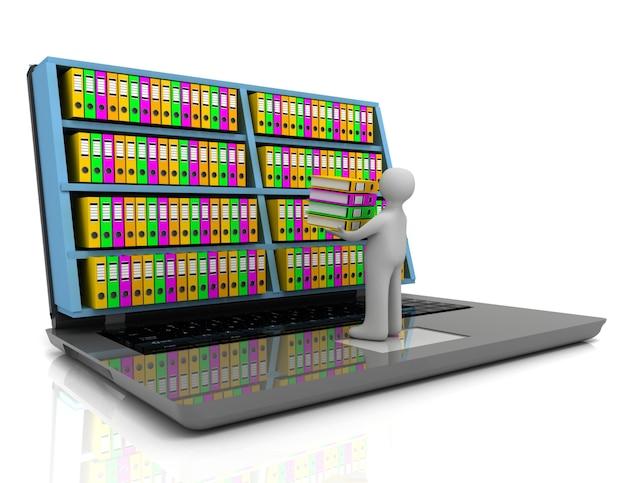 Concept d'archives 3d. ordinateur portable et fichiers sur fond blanc isolé
