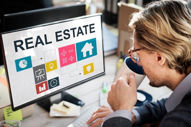 Concept d'argent de travail d'affaires immobilières
