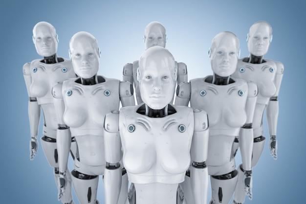 Concept d'armée de cyborg féminin avec groupe de rendu 3d de cyborgs ou de robots féminins d'affilée