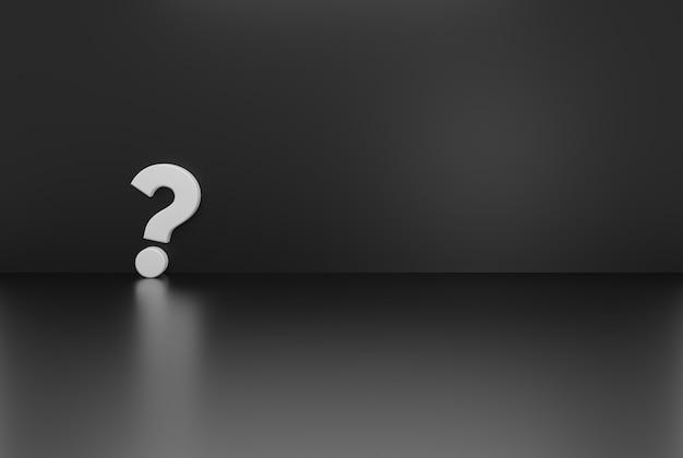 Concept d'arrière-plan de point d'interrogation de couleur noire rendu d'illustration 3d