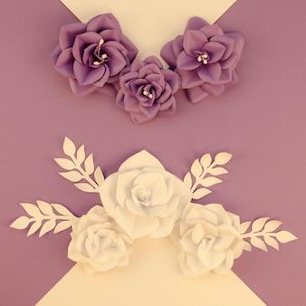 Concept d'art avec des fleurs violettes et jaunes