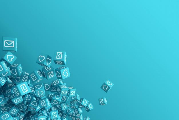 Le concept art sur le thème de l'illustration 3d des réseaux sociaux