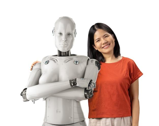 Concept d'assistant de robot avec une femme asiatique tenant un cyborg féminin de rendu 3d