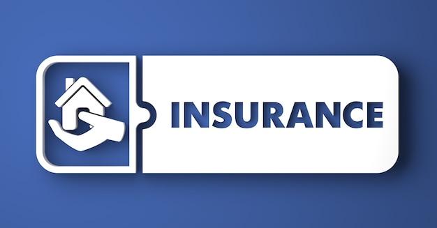 Concept d'assurance. bouton blanc sur fond bleu dans un style design plat.