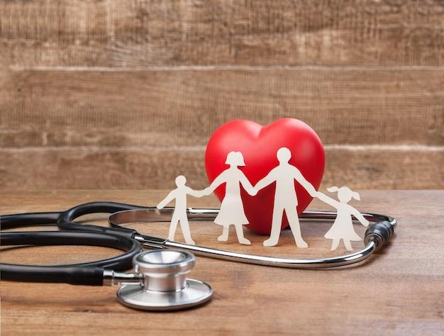 Concept d'assurance médicale avec découpe familiale et stéthoscope sur un bureau en bois