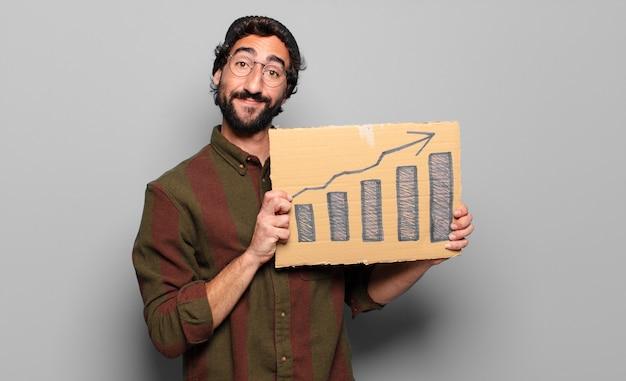 Concept de barres graphiques de jeune homme barbu