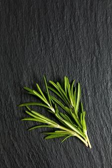 Concept à base de plantes bio rosemary sur ardoise noire avec espace copie