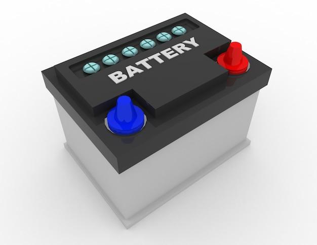 Concept de batterie de voiture. illustration rendue 3d