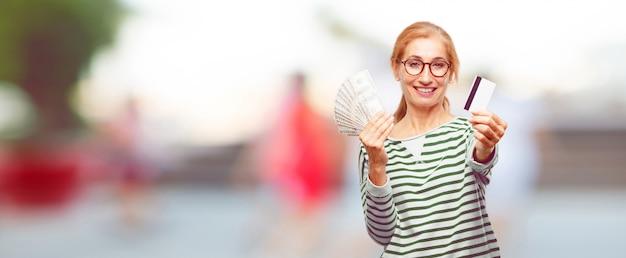 Concept de belle femme paye, achat ou argent