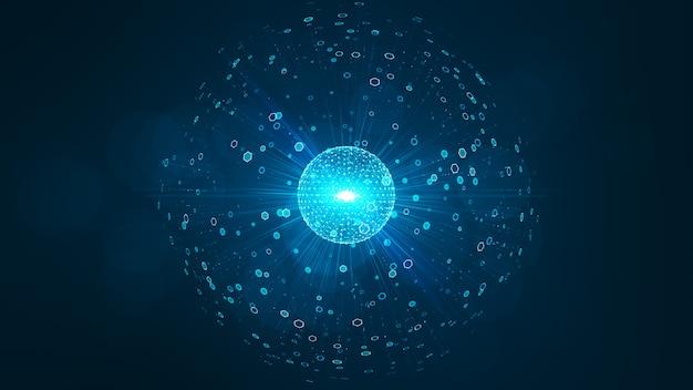 Concept de big data de technologie. interface sphérique futuriste.