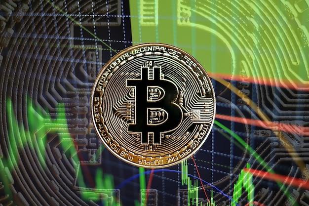 Concept avec bitcoins et graphique de bougie