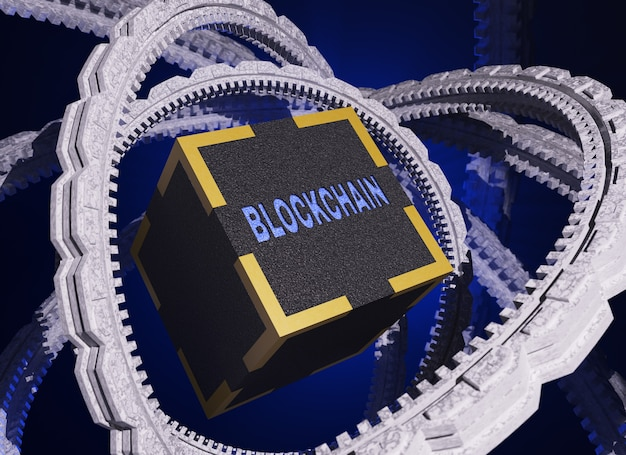 Concept de blockchain de technologie de réseau.