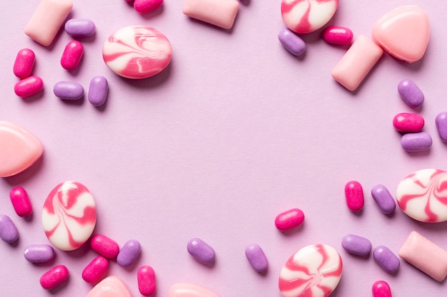 Concept de bonbons délicieux avec espace copie