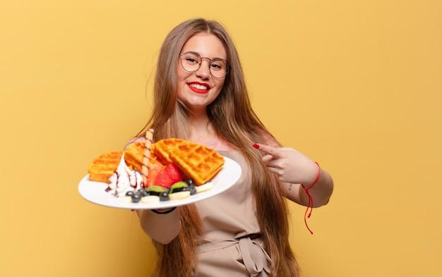 Concept de boulanger jeune jolie femme