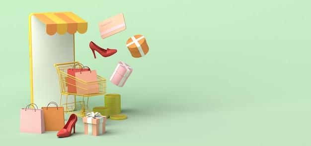 Concept de boutique en ligne via smartphone copiez l'espace illustration 3d maquette d'achat en ligne