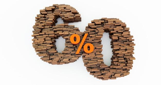 Concept de briques en bois qui forment le 60% de réduction, symbole de promotion, 60% en bois. rendu 3d