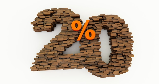 Concept de briques en bois qui s'accumulent pour former les 20% de réduction, symbole de promotion, 20% en bois sur fond blanc. rendu 3d