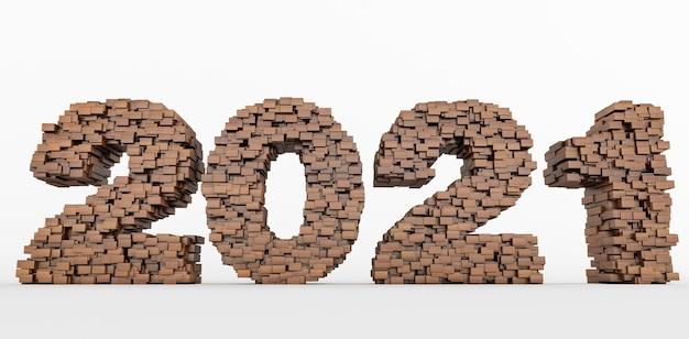 Concept de briques en bois qui s'accumulent pour former la 2021, bonne année 2021. rendu 3d