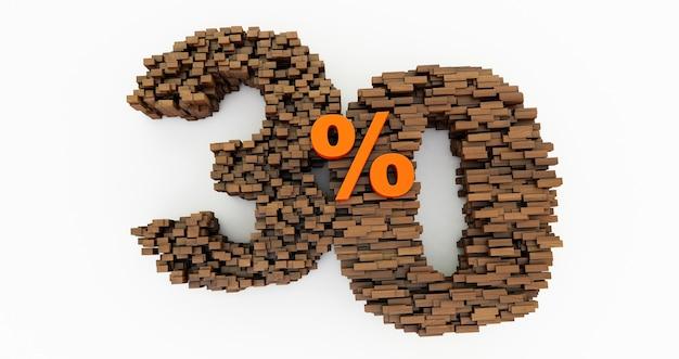 Concept de briques en bois qui s'accumulent pour former les 30% de réduction, symbole de promotion, 30% en bois sur fond blanc. rendu 3d