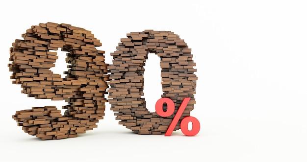 Concept de briques en bois qui s'accumulent pour former les 90% de réduction, symbole de promotion, 90% en bois sur fond blanc. rendu 3d, quatre-vingt dix