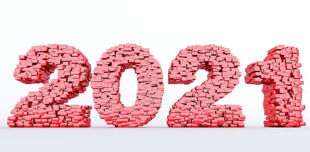 Concept de briques rouges qui s'accumulent pour former la 2021, bonne année 2021. rendu 3d