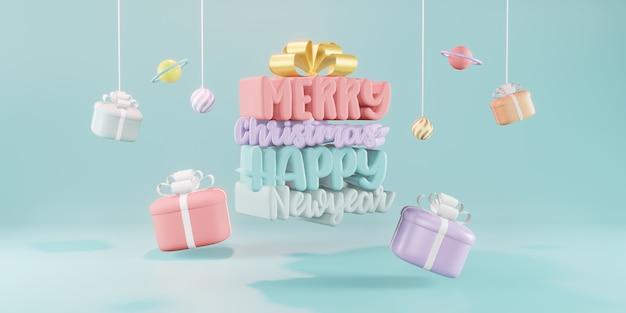 Concept de cadeau de noël. bonne année, achats en ligne, rendu 3d.