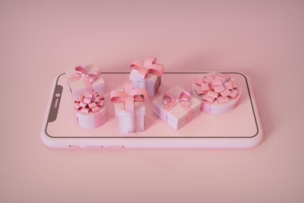 Concept de cadeau de noël boutique sur votre smartphone rendu 3d de l'image de noël