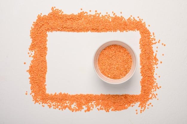Concept de cadre de lentilles vue de dessus des aliments sains et diététiques