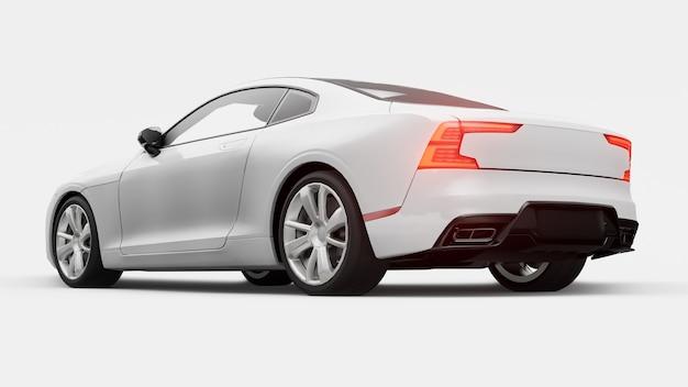 Concept car coupé premium sport. hybride rechargeable. technologies de transport respectueux de l'environnement. voiture blanche sur fond blanc. rendu 3d.