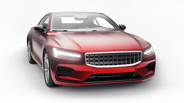 Concept car coupé premium sport. hybride rechargeable. technologies de transport respectueux de l'environnement. voiture rouge sur fond blanc. rendu 3d.