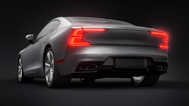 Concept car coupé premium sport. voiture grise sur fond noir. hybride rechargeable. technologies de transport respectueux de l'environnement. rendu 3d.