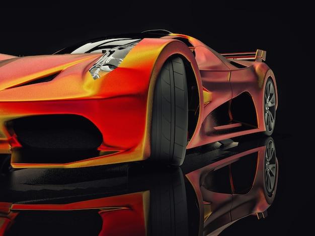 Concept-car de course. image d'une voiture sur un fond noir brillant. rendu 3d.