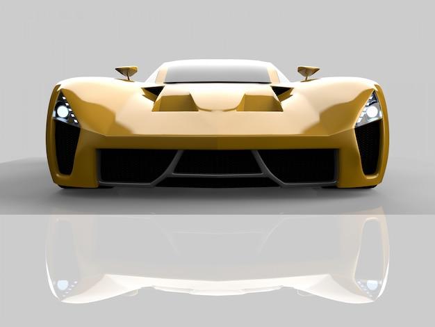 Concept car racing jaune. image d'une voiture. rendu 3d.