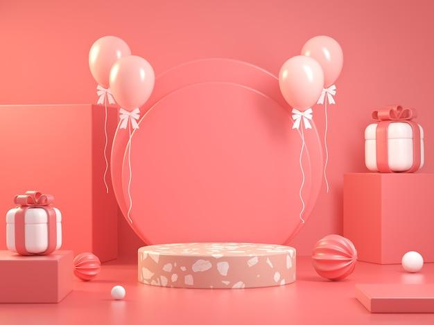 Concept de célébration d'affichage maquette rose fond abstrait rendu 3d