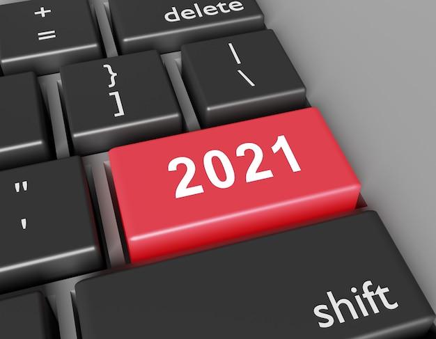 Concept de célébration. numéro 2021 vous sur le bouton du clavier de l'ordinateur