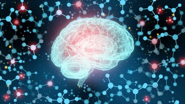 Concept d'un cerveau humain actif dans l'obscurité.
