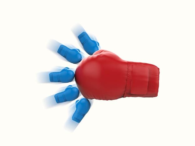 Concept de championnat avec gant de boxe rouge et gants de boxe bleus