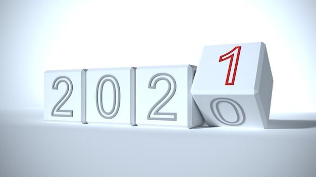 Le concept de changement de l'année de 2020 à 2021
