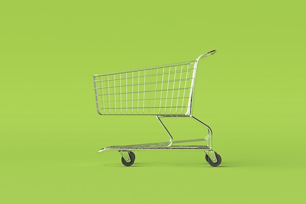 Concept de chariot de panier sur fond vert avec un peu d'espace de copie. illustration 3d
