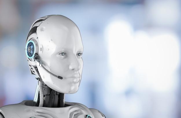 Concept de chat bot avec robot humanoïde de rendu 3d avec casque