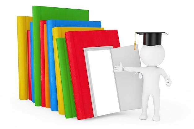 Concept de chemin vers la connaissance, l'éducation et la lecture. personne dans un chapeau de graduation debout près d'une pile de livres de couleur avec porte ouverte et espace vide à l'intérieur de la porte sur un fond blanc. rendu 3d
